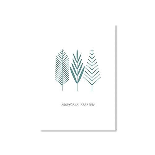jiushice Rahmenlose Poster Kleine Frische Pflanze Blatt Schmetterling Leinwand ng Dekoration Wandkunst Bild Für Mädchen Zimmer Poster Und Drucken 2 60X90 cm