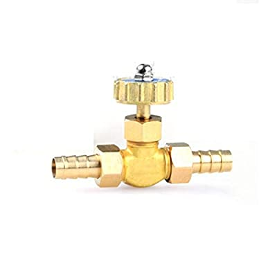 Fincos 10mm Hose Barb Thread Two Way Straight Brass Needle Valve Regulating Valve for Water Oil Air from Fincos
