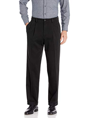 Dockers Men's Relaxed Fit Easy Khaki Pants - Pleated D4, Black (Stretch), 38W x 32L