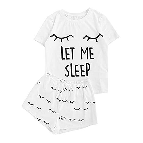 MLOPPTE Pijama,Conjunto de Pijama con Estampado de Letras Camiseta de Manga Corta con Estampado de Mujer Ropa de Dormir con