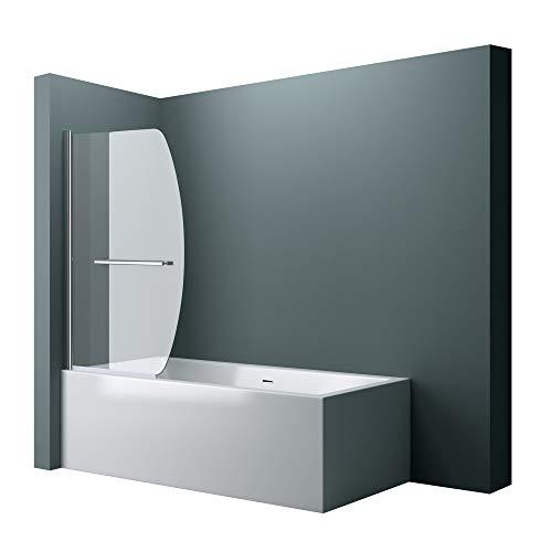 BxH: 90x140 cm Design Duschabtrennung Cortona112 für Badewanne,Badewannenaufsatz, 6mm ESG-Sicherheitsglas Klarglas, inkl. Nanobeschichtung, Badewannenfaltwand, Duschwand