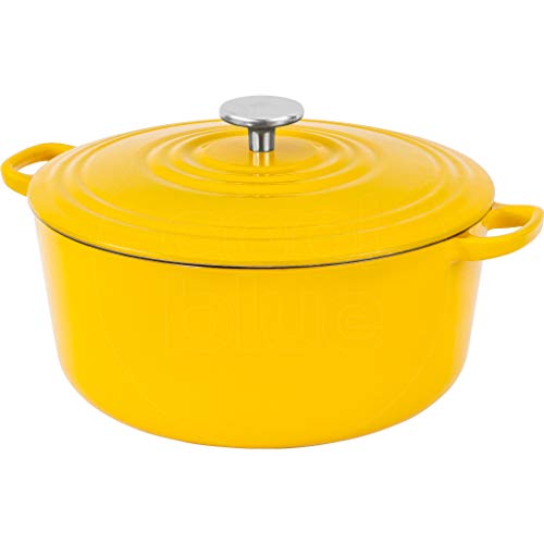 BK Cookware Cocotte en Fonte Émaillée avec Couvercle 28 cm, Dutch Oven, Casserole Induction Ronde 6.7 Litres, Tous Feux, Jaune Ensoleillé