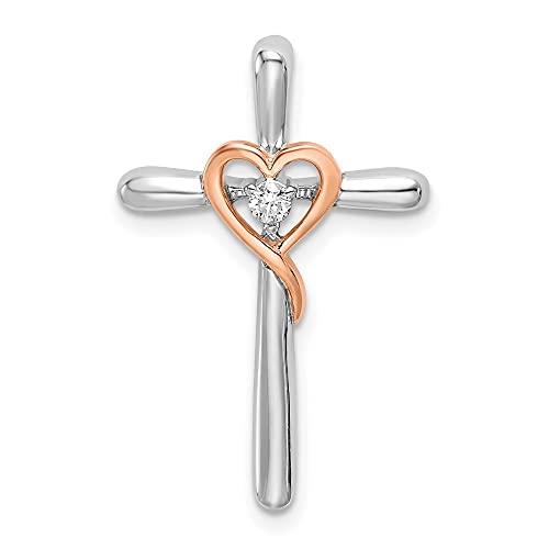 Cruz religiosa de oro de 14 quilates de dos tonos de oro blanco y rosa con corazón de amor, joyería de diapositivas de joyería regalos para mujeres