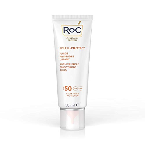 RoC - Soleil-Protect Anti-Rides Fluide Lissant SPF 50 - Hydratant pour le Visage - Réduit les Rides - Crème Solaire - 50 ml