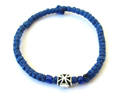 Iconsgr Handmade Christian Orthodox Komboskoini Chotki Prayer Rope Bracelet Dark Blue - 3D