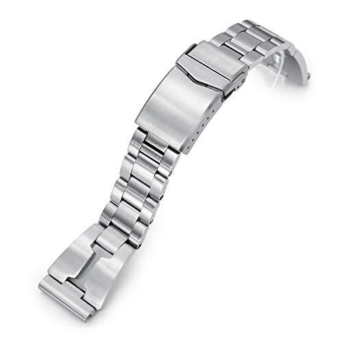 20mm Retro-Rasiermesser 316l Edelstahl Uhrenarmband gerades Ende, gebürstete V-Schließe