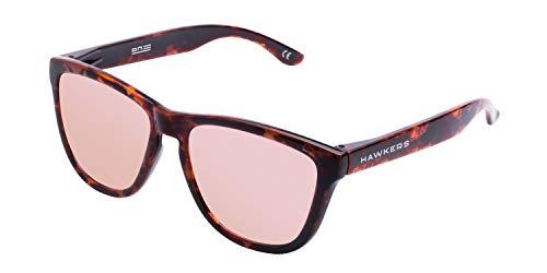 HAWKERS Gafas de Sol ONE Carey Black, para Hombre y Mujer, con Montura Havana Style y Lente Rosa con Efecto Espejo, Protección UV400