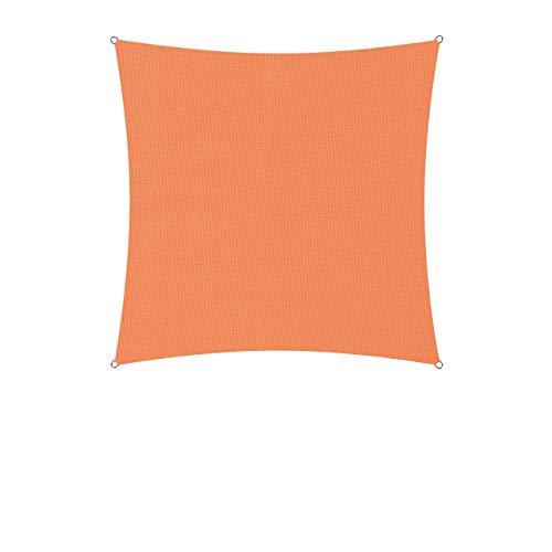 Lumaland Sonnensegel inkl. Befestigungsseile - Quadrat 3 x 3 Meter - 160 g/m² Polyester mit doppelter PU-Beschichtung - UV-Schutz 30+, wasserabweisend, atmungsaktiv, wetterbeständig - Orange