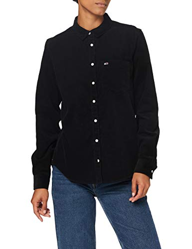 Tommy Jeans Damen Tjw Regular Cord Shirt Hemd, Schwarz, M