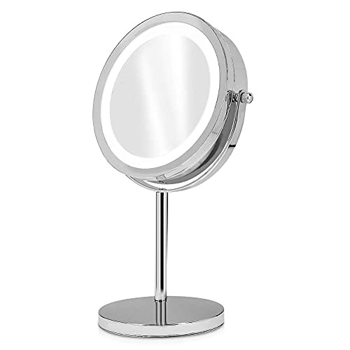 Lupa LED iluminada espejo de maquillaje normal y aumento de 5 aumentos de 7 pulgadas de doble cara espejo de maquillaje independiente, giratorio de 360 ° profesional baño belleza afeitado