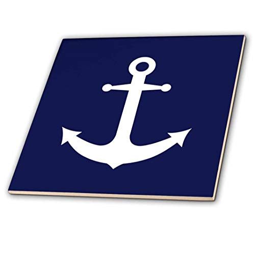 3dRose ct_165798_4 Navy Blue & White Nautical Anchor Design Ceramic Tile, 12""