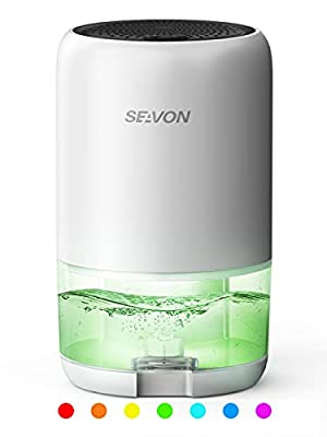 SEAVON Dehumidifier 35oz Dehumidifiers for Home 2500 Cubic Feet (280 sq ft) with 7 Color LED Light, Portable Quiet Dehumidifier with Two Working Mode for Basements, Bedroom, Bathroom, RV from SEAVON