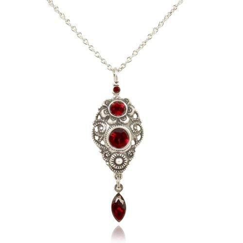 nobel-schmuck Jugendstil Kette mit Kristallen von Swarovski® Silber Rot