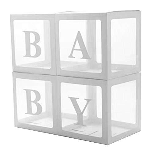 Sue-Supply 4 stks/set DIY transparante doos latex ballon babyblokken voor jongen meisje baby douche bruiloft verjaardag partij decoratie achtergrond
