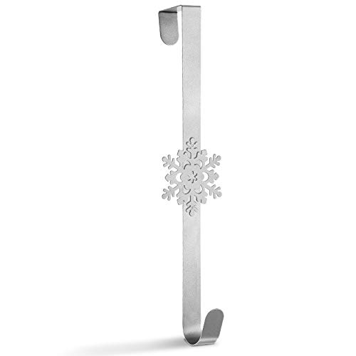 Whaline Christmas Wreath Hanger Over the Door Metal Wreath Hook Snowflake Decor Hook for Xmas Party Door Wall Home Office, Silver, 15in