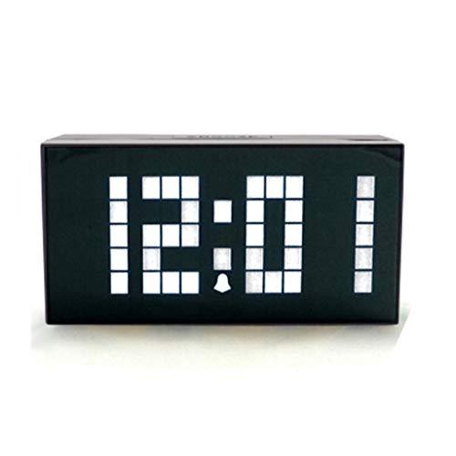 xiaodou Reloj de Mesa Espejo Reloj Despertador Digital LED multifunción Reloj Despertador silencioso Dormitorio Decoración de la Sala de Estar (4 Colores Opcionales) Reloj Mesa (Color : White)