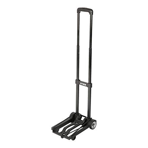 STIER Kunststoff-Sackkarre, klappbare Sackkarre, Belastbarkeit bis 45 kg, Höhenverstellbar, Stapelkarre zum Transportieren, Transporthilfe, Kunststoff-Transportkarre