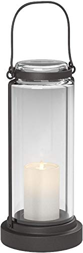 Amazon Brand – Stone & Beam Modern Casual Decorative Metal and Glass Lantern with LED Candle - 6 x 6 x 14 Inches, Black, For Indoor Outdoor Use