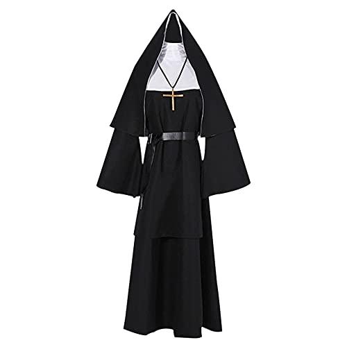 HUHUSW Disfraz de Monja 5 en 1 de Talla Grande - Traje de Monja de Lujo con cinturn de Cuero, Disfraz de Sacerdote, Disfraces de Halloween para Mujer