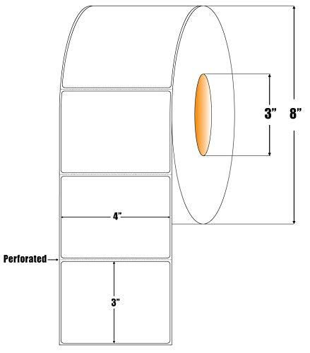 Thermo-Transferpapier-Etiketten für Zebra Industrial ZT Serie, ZM Serie und XI Serie Drucker – 7,6 cm Kern Rollen – benötigt Thermoband – 2000 Etiketten pro Rolle 1 Roll weiß