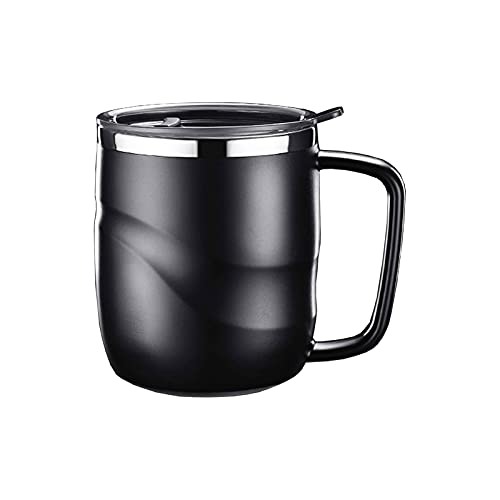 SHTFFW Taza de Acero de la Taza de café con la Tapa y la manija de la Pared de la Pared con Aislamiento de la Pared de la Pared de la Oficina de la Oficina de la Oficina de té de la Taza del hogar