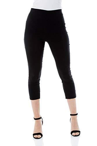Roman Originals Pantalón Capri elástico de bengalina para Mujer - Pantalón de Corte cónico Estilo años 50, Malla para Verano, Opaca, cómoda y elástica - Black - 48