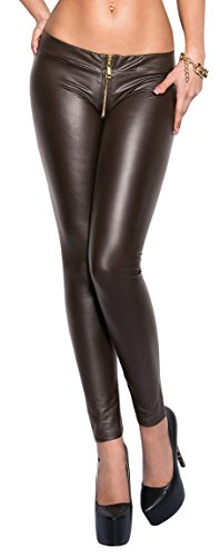 Firstclass Trendstore Leggings mit Reißverschluß (Zipper) im Wetlook, Leggins Damen Gogo Clubwear Party (900649 braun S/M)