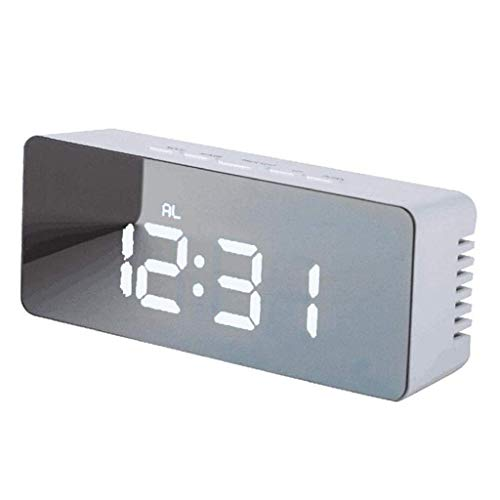Reloj Despertador Rectangular Electrónico Digital Temperatura Espejo Función de repetición Decoración Luminosa Dormitorio Estudio Oficina Mesita de Noche Niños 5 Pulgadas