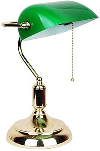 JAOSY Lámpara de Mesa banquero clásica con Cabezal Giratorio de latón Pulido y Vidrio Verde, 001