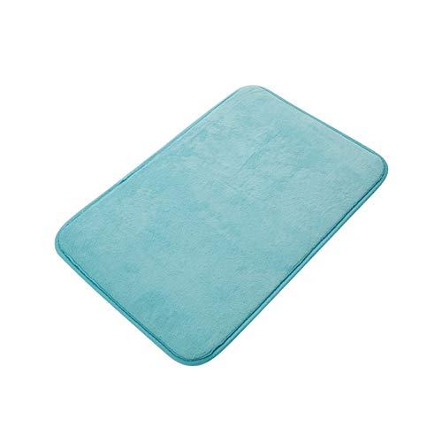 Morbuy Hochflor Korallenrotes Vlies Shaggy Schmutzfangmatte Anti-Rutsch Teppich Bequeme Badematte Badezimmer-Teppich saugfähiger weicher Duschteppich-Indoor/Outdoor (40 * 60cm, Blau)