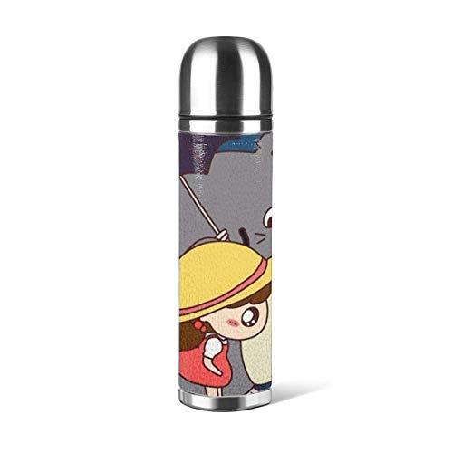 YUSHAN Cartoon My Neighbour To-t-oro Taza de agua con aislamiento al vacío de doble pared Stainl acero botella de agua deportes café viaje taza a prueba de fugas 17 oz