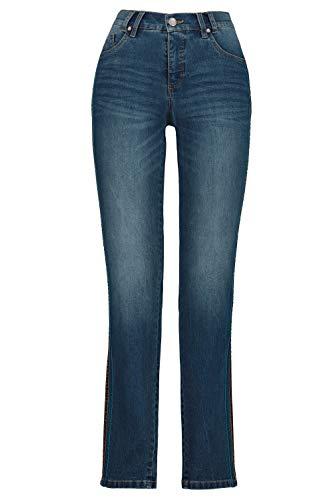 GINA LAURA Damen Jeans Julia, seitliche Samtbänder, schmale 5-Pocket Blue Denim 46 725389 92-46