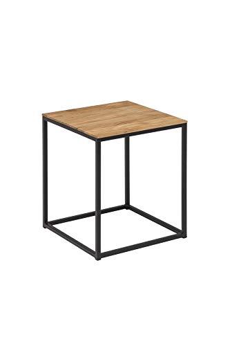 Woodlive Massivholz Couchtisch Würfel Wildeiche Beistelltisch Holz Metallgestell Wohnzimmertisch 40x40x49 schwarz