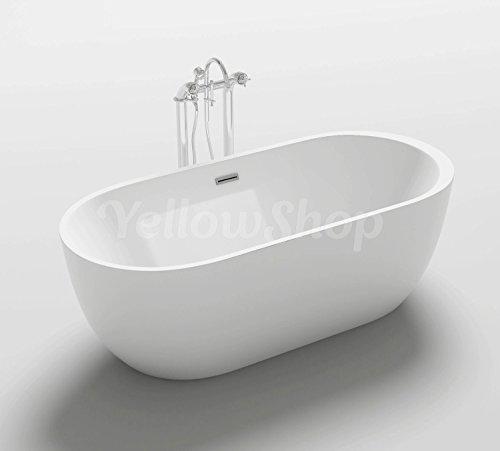 Yellowshop - Vasca Vasche Da Bagno Freestanding Modello One, Free Standing Design Moderno Centro Stanza Cm 170x80 Altezza 58