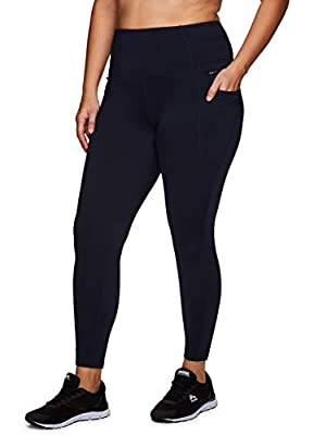 RBX Active Women's Plus Size Full Length Athletic Running Yoga Fleece Lined Leggings with Tech and Zipper Pockets F20 Navy Blue 2X