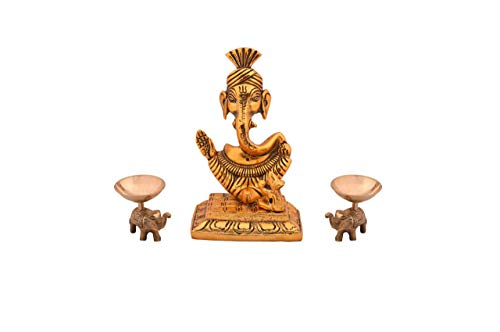 Festive Creations Metal Lord Ganesha Idol Sculpture Home Office Gifts Decor(Size: 5.5 Inches, Golden Finish)