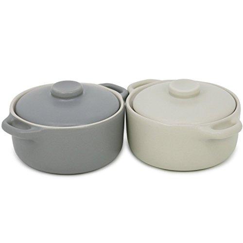 com-four® 2x Mini Kasserolle mit Deckel, Pastetenförmchen aus Keramik, Creme Brulee Schälchen in grau und beige, 155 ml je Form (02 Stück mit Deckel - 155 ml grau/beige)