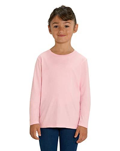 Hilltop Hochwertiges Kinder Langarmshirt /100% Bio-Baumwolle für Mädchen und Jungen. Eignet sich hervorragend zum bedrucken. (z.B.: mit Transfer-Folien/Textilfolien), Size:122/128, Color:Cotton Pink