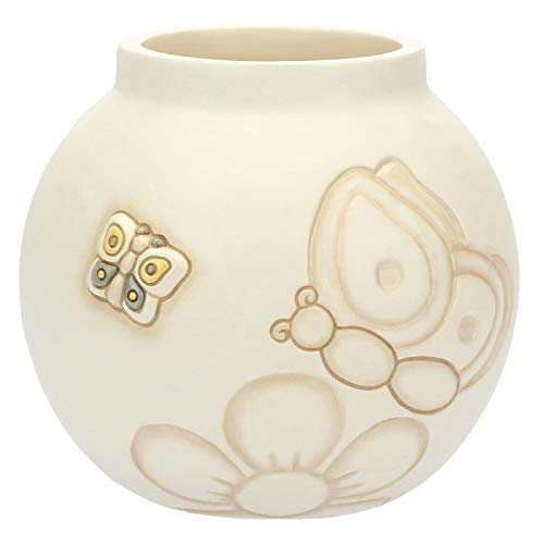 THUN - Vaso con Farfalle - Formato Medio - Linea Elegance - Ceramica - 14,8x14,8x13,6 cm h