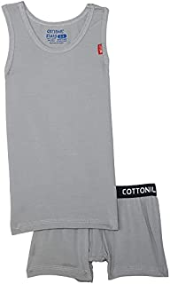 Cottonil Sleeveless Undershirt with Contrast Elastic Waist Boxers Set for Boys