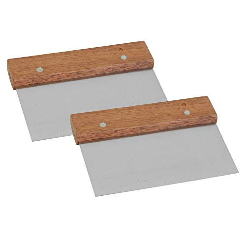 Stainless Steel Bench Scraper Chopper Dough with Wooden Handle for Bakeware 2 PC