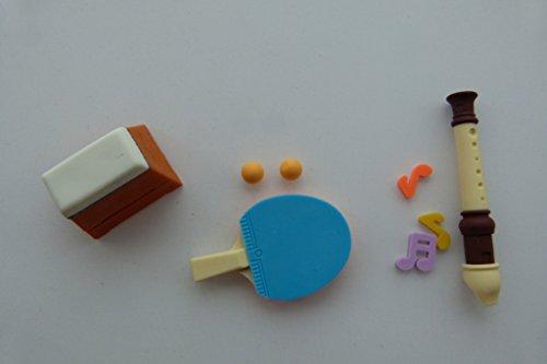 Iwako 3 Stück Schule 2 - Turngeräte, Tischtennis und Flöte japanischen Radiergummis aus Japan
