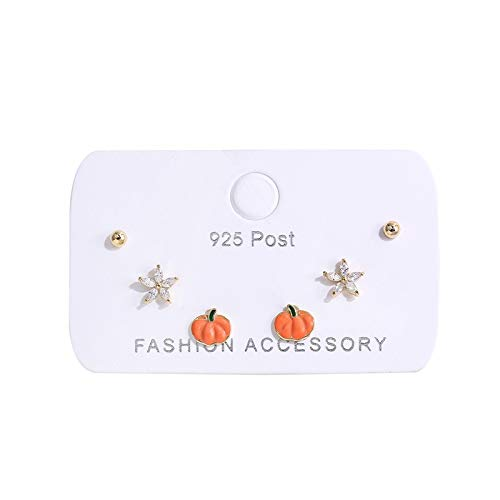 xingguang Sterling silver cute earrings Colorful Zircon Ice Flower Pumpkin Small Ball Stud Earrings Set for Women Girls 6-piece Earrings Set Jewelry Gifts (Metal Color : 6 piece gold color)