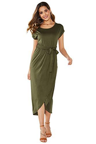 Yidarton Sommerkleid Damen Shirt Kleider Lang Strandkleid Beach Kleid Partykleid Elegant Maxikleid (M, Grün)