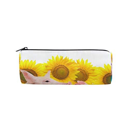 Tier lustig Schwein Sonnenblume Zaun Stift Briefpapier Tasche Kosmetik Make-up Tasche Reißverschluss Tasche Geldbörse Brille Fall Natur Bleistift Fall für Student Boy Girl