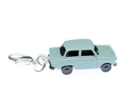 Miniblings Trabbi Auto DDR Charm Trabant Trabi blau - Handmade Modeschmuck I Kettenanhänger versilbert - Bettelanhänger Bettelarmband - Anhänger für Armband