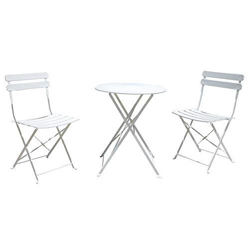 OC Orange-Casual Premium Steel Patio Bistro Set, Folding Outdoor Furniture Sets, 3 Piece Set of Foldable Chairs and Table, White