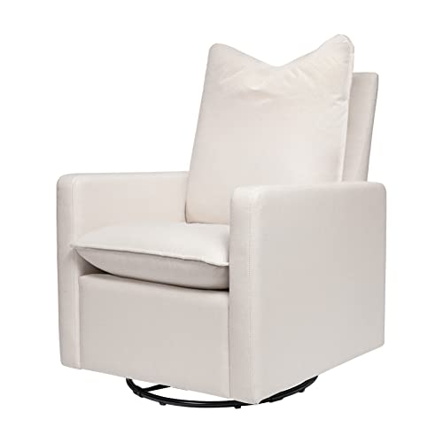Babyletto Cali Pillowback Swivel Glider in Performance Cream Eco-Weave, Water Repellent & Stain Resistant, Greenguard Gold Certified