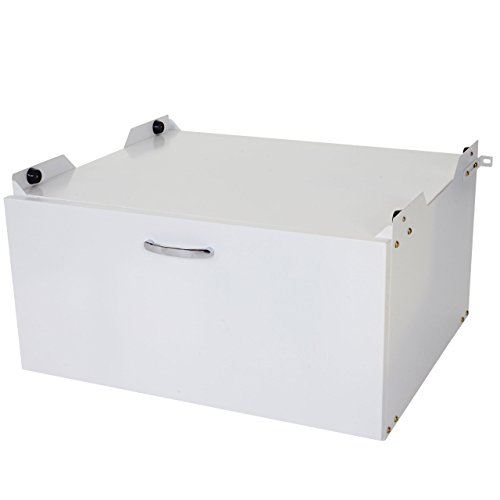 Mendler Waschmaschinenunterschrank HWC-E50, Sockel Podest Erhöhung Untergestell, Schublade 33x61x62cm weiß