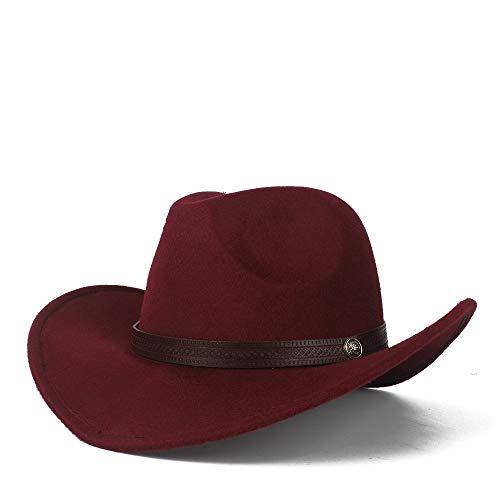 XYAL0003001 Xingyue Aile Hoeden & Caps Mannen Vrouwen Authentieke Western Cowboy Hoed Met Leer, Riem Roll Up Hoed, Brede Brim Jazz Hoed, Maat 56-58CM